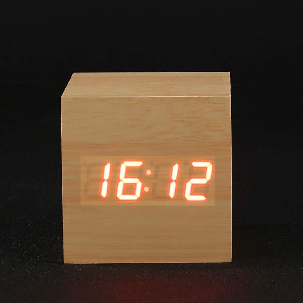 Bois Blanc Mot Rouge TOPmountain Horloges num/ériques en Bois R/éveil en Bois LED Horloge de Bureau num/érique R/éveil de Bureau Cube Moderne