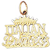 14K Yellow Gold Italian Princess Pendant Necklace - 20 mm