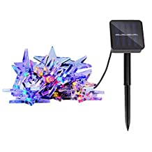 Lightess Solar Christmas String Lights 20 Stars Waterproof for Outdoor Patio Garden Holiday Party Wedding(Multi Color)