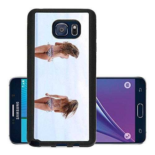 Liili Premium Samsung Galaxy Note 5 Aluminum Backplate Bumper Snap Case happy women in bikini walks on a beach Photo 9619952