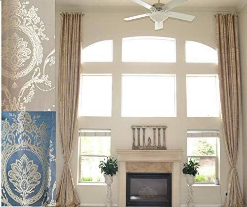 Ikiriska Extra Long Blue Gray Beige Taupe Jacquard Curtain with Royal Pattern Grommet top 12 15 16, 17, 18, 20, 24 feet 2 Story Long Drape Gold, 24ft