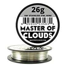 SS 316L - 100 ft. 26 Gauge AWG Stainless Steel Resistance Wire 0.40 mm 26g 100' by Master Of Clouds