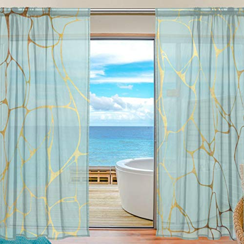 MAHU Sheer Curtains Gold Blue Marble Print Window Voile Curtain Drapes for Living Room Bedroom Kitchen Home Decor 55x78 inches, 2 ()