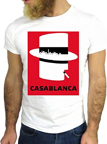 T-SHIRT JODE GGG24 Z1223 CASABLANCA HAT CIGARETTE AMERICA RED COOL GREAT CARTOON BIANCA - WHITE M