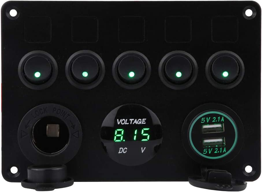 Green Light 5 Gang ON//Off Toggle Rocker Switch Panel Dual USB Voltmeter 12-24V Waterproof for RV Boat Car Vehicles Truck Marine