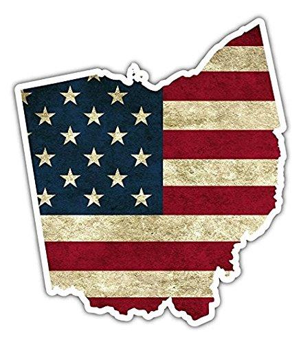 Ohio State US Flag Vintage American Flag Vinyl Bumper Sticker Decal