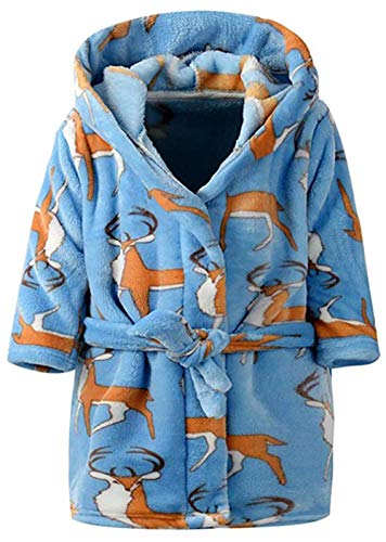 Toddler Girls & Boys Bathrobes,Plush Soft Coral Fleece Robes Hooded Animal Sleepwear Pajamas for Kids Girls (Blue Elk, 5T(Fit Height - Tie Backs Elk