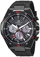 Casio Men's 'Edifice' Quartz Stainless Steel and Resin Casual Watch, Color:Black (Model: EQS-800CPB-1AVCF)