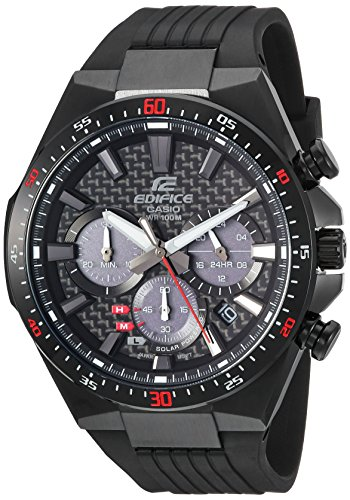Casio Men's Edifice Stainless Steel Quartz Watch with Resin Strap, Black, 25 (Model: ()
