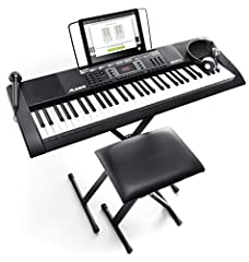 Learning to play the keys just got a whole lot easier The Alesis Melody 61 MKII keyboard combines 61 piano style keys, 300 built in sounds with layering and split modes, 300 built in rhythms for playing along to, 40 demo songs, an easy-to-ass...