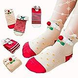 Dejian 3 Pairs Baby Girls Socks Toddler Anti Slip Stretch Knit Christmas Cartoon Pattern Socks For Infant Kids 2-11 Year Old