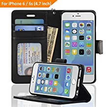 iPhone 6 / 6s Case, NAVOR® [Stand Feature] [Removable Strap] [4 Card Slots] [Clear ID Window] [Money Pocket] Synthetic Leather 4.7 inch iPhone 6 / 6s Wallet Case - Navor (Black)