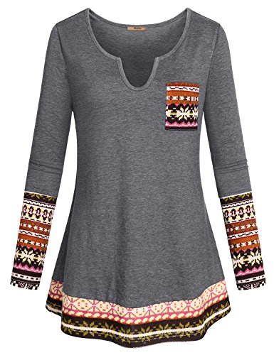 Miusey Dressy Shirts for Women, Girls Long Sleeve Pattern Tops Modern Zulily Versatile Tribe Print Boho Maternity Chic Style Utility Trendy Blouses Knitted Sweater Oversized Autumn Outfits Gray XL