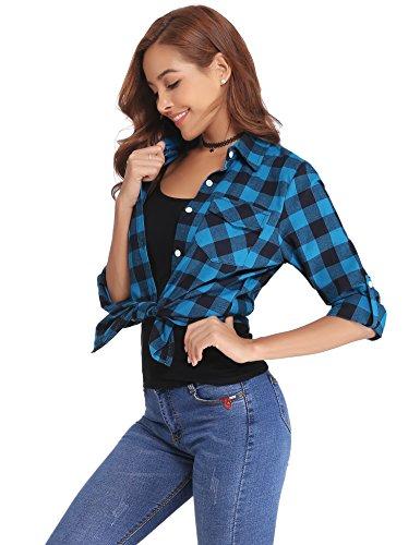 Stile Blu Bluse A Flanella Boyfriend Maniche nero Classici Per Donna Abollria Lunghe Autunno Di Camicia Inverno Quadri Primavera Casual IBPTT0