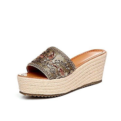 FEIFEI Sandalias de las mujeres del verano impermeable bordado de la plataforma de impresión de espesor zapatillas inferiores zapatos romanos antideslizante cómodo punta abierta zapato de playa 7.5 CM Oro