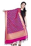 Chandrakala Women's Handwoven Cutwork Brocade Banarasi Dupatta Stole Scarf (Pink)
