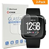 Exuun (2-Pack) Fitbit Versa Tempered Glass Screen Protector ,9H Premium Real Tempered Glass Screen Protector 2.5 D Round Edge Anti Scratch Screen Protector for Fitbit Versa