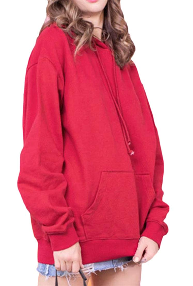 Wofupowga Women Solid Color Tops Hoodies Pocket Leisure Pullover Fall Sweatshirts