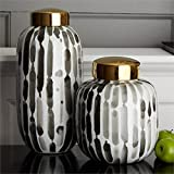 Tozai Home Brush Strokes Set of 2 Black and White Covered Jars with Gold Metallic Lid