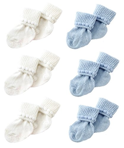 - Blue & White Newborn Baby Socks by Nurses Choice - Includes 6 Pairs of Cotton Socks