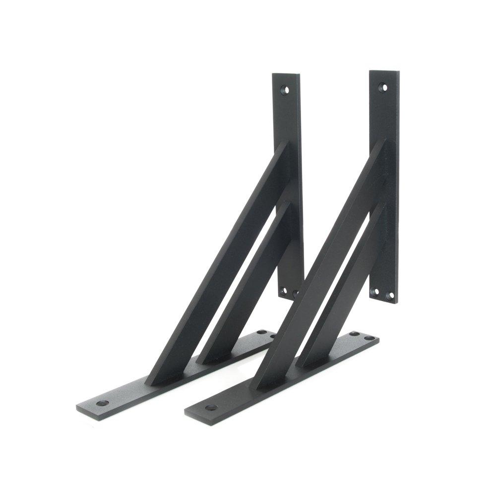 2 x Sossai Design Regalträ ger | Winkel Auflage | Wandhalterung fü r Regalbrett 180x180mm (FSHR)| Farbe: schwarz matt | Material: Aluminium