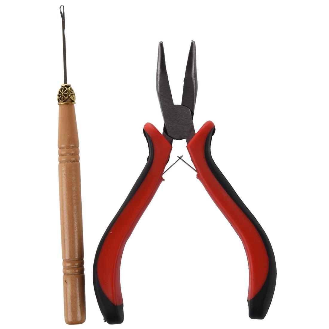 TOOGOO(R) la extension del pelo del palillo recto Alicates y tira de la aguja Herramienta Hook para Micro Anillos: Amazon.es: Juguetes y juegos