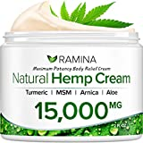 Ramina Natural Hemp Extract Pain Relief Cream - 15000 Mg - Hemp Salve Contains Turmeric, MSM & Arnica - Relieves Inflammation, Muscle, Joint, Back, Knee, Nerves & Arthritis Pain - Made in USA -Non-GMO