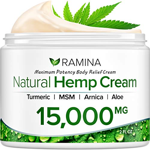 Ramina Natural Hemp Extract Pain Relief Cream - 15000 Mg - Turmeric, MSM & Arnica - Relieves Inflammation, Muscle, Joint, Back, Knee, Nerves & Arthritis Pain - Made in USA - Non-GMO