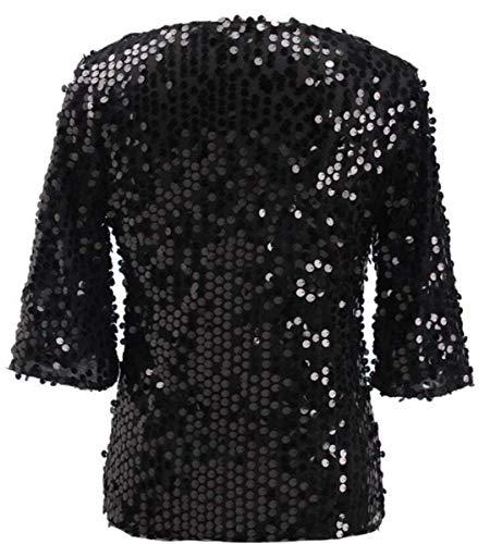 Eleganti Magliette Collo Donna Giovane Tshirt Festival Camicetta di 4 Moda Unico Schwarz Moda Party Grazioso Paillettes Rotondo Estivi 3 Tops Moda Manica AFSdRq