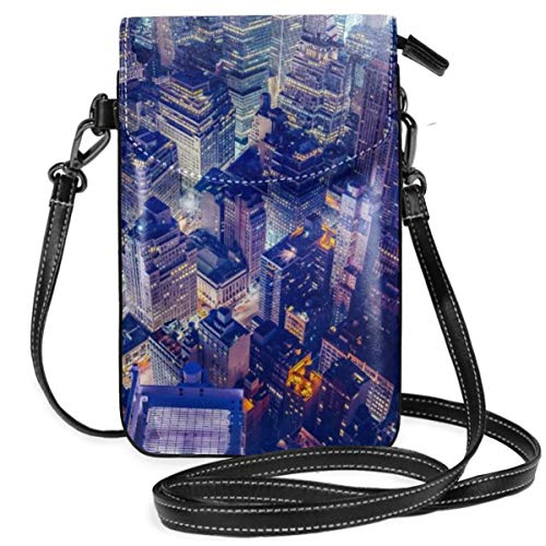 Small Cell Phone Purse For Women Leather City Night Scene Insides Card Slots Crossbody Bags Wallet Shoulder Bag