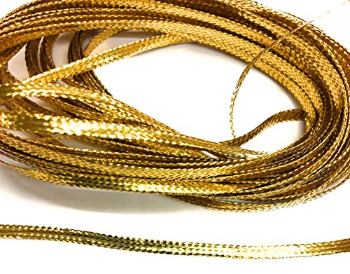 Gold Flat Braid - Weave Gold Braid Metallic Flat Gold Trims 1/8