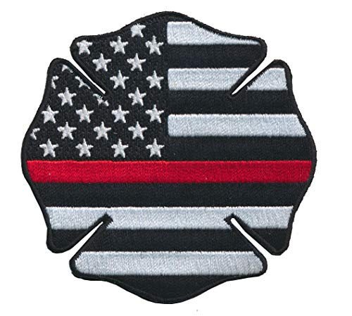 - Tactical Firefighter Maltese Cross USA Flag Thin Red Line Embroidered Patch