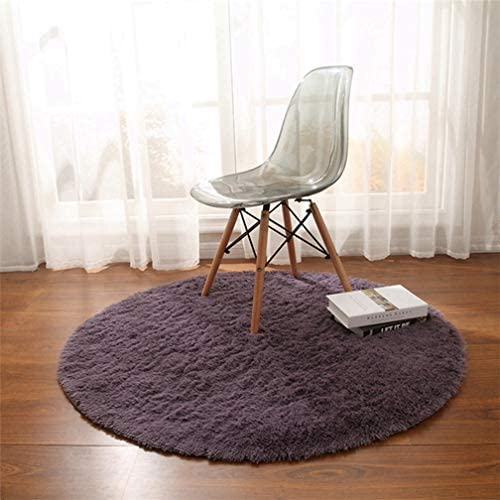 MOXIC Solid Round Area Rugs Soft Shag Living Room Bedroom Children Rug Anti-Slip Plush Carpet Bathroom Mats Circular Modern Home Decorate Nursery Runners Plum 6.5' X 6.5'