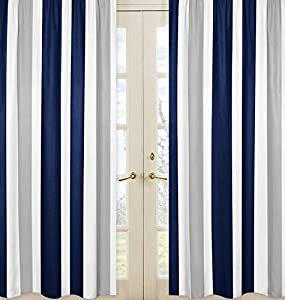 Navy Blue, Gray and White Window Treatment Panels for Stripe Collection - Set of 2