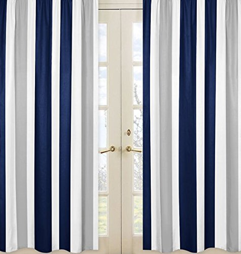 Sweet Jojo Designs 2-Piece Navy Blue, Gray and White Window Treatment Panels for Stripe Collection