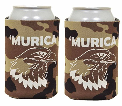 Budweiser Eagle (Funny Can Coolie Murica Bald Eagle 2 Pack Can Coolies Tan Camo)