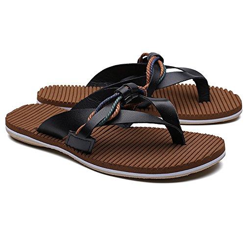 Color vera Infradito da Sandali da spiaggia Pantofole Mens 41 casual Infradito uomo piatti EU 2018 antiscivolo in spiaggia morbidi Dimensione pelle shoes da Nero vHwnEf