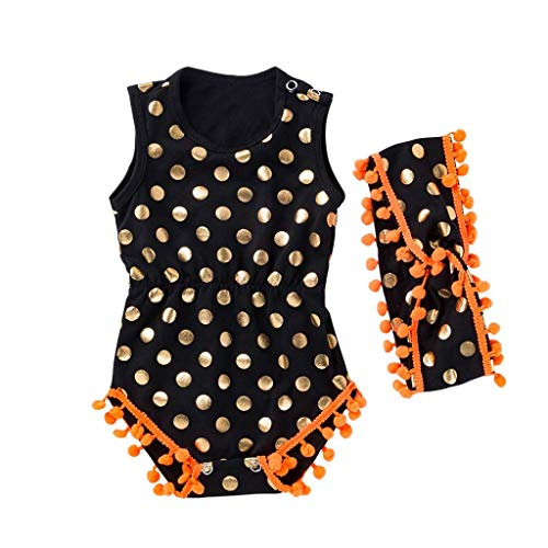 Baby Clothes, New Infant Kids Baby Girls Sleeveless Sequin Dot Trim Romper Jumpsuit and Headband Outfits 2PCS Sets 6-12 Months Black