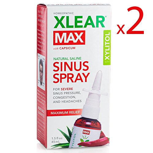 XLEAR MAX Nasal Spray, 1.5oz, 2 Pack, New! Natural Formula With Xylitol, Capsicum, and Aloe for Maximum Relief From Severe Sinus Pressure, Congestion, Headaches, and Dryness