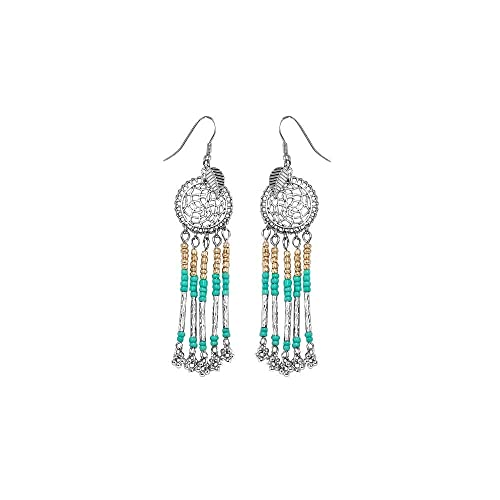 34ed6793d0e7 Pendientes de rodio fantasía metal plateado y perlas, color azul ...