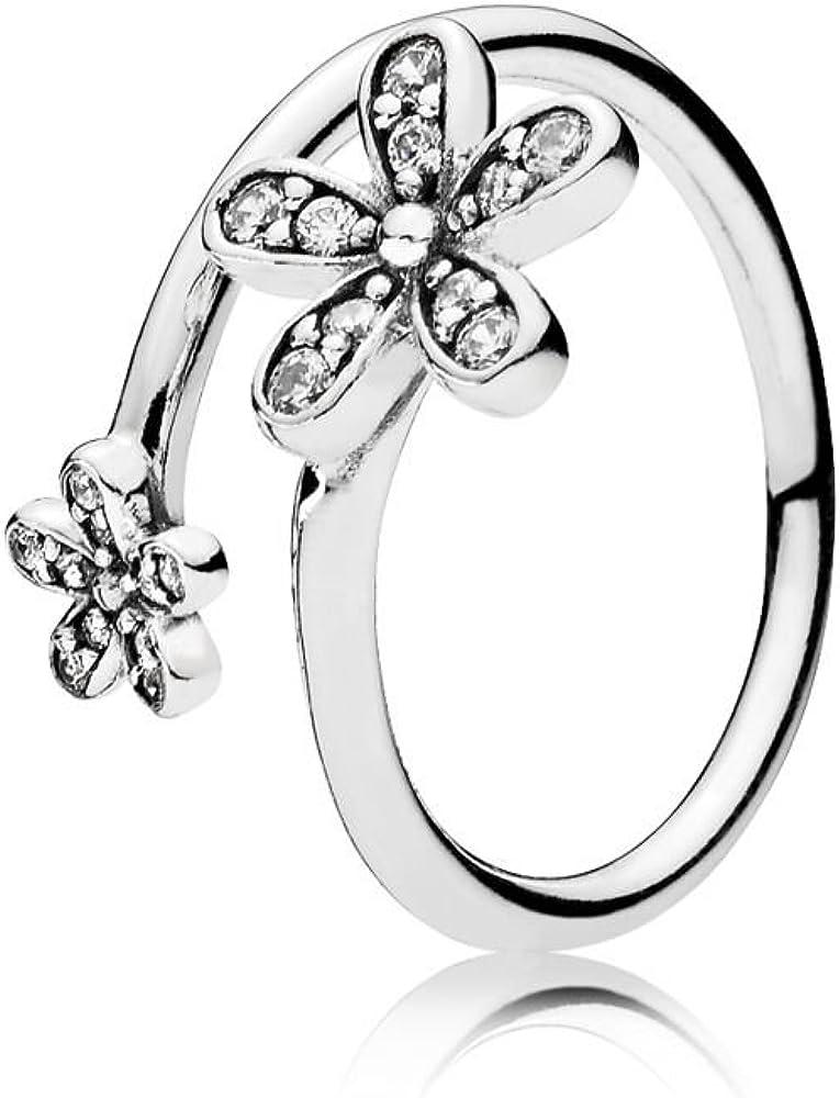 PANDORA Dazzling Daisies Ring, Clear CZ 191038CZ-56 EU, 7.5 US