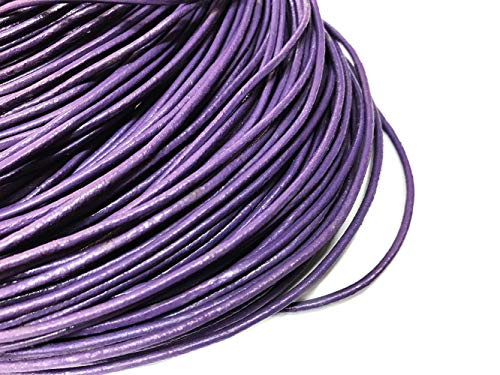 TheTasteJewelry 2mm Genuine Natural Purple Leather Cord Rope Jewelry Making Finishings Round 10m String ()