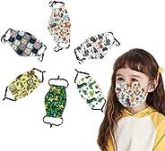 6 Pcs Kids Reusable, Washable Facial Cloth Cute Print Breathable Cotton Face Bandanas With Adjustable Ear Loop