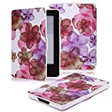 MoKo Case for Amazon Kindle 7th Gen - Ultra Lightweight Shell Case Stand Cover Case for Amazon Kindle 2014 ( 7th Generation ), Floral PURPLE
