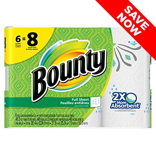 Bounty Paper Towels, Print, Regular Rolls, 6 Count