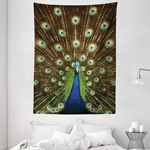 Ambesonne Peacock Tapestry, Portrait of Peacock with Feathers Out Vibrant Colors Birds Summer Garden, Wall Hanging for Bedroom Living Room Dorm, 60 X 80 , Navy Green