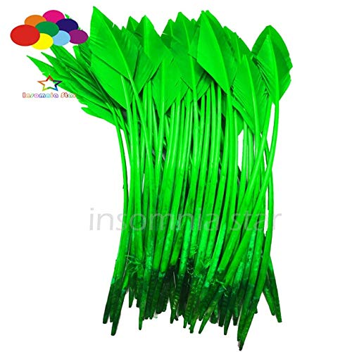 Maslin 50 Pcs Arrow Green Turkey Feathers 25-30 CM/10-12 INCH Beautiful for Jewelry Carnival Decorative DIY Costume Mask Headdress - (Color: Green) -