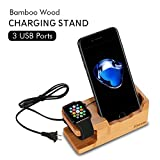 iCozzier 3-Port USB Bamboo Charging Station with Apple Watch Charging Stand & iPhone Desktop Stand/ Multi-Device Desk Organizer Charging Dock Holder for iPhones, Nexus, Galaxy, and Other Smartphones