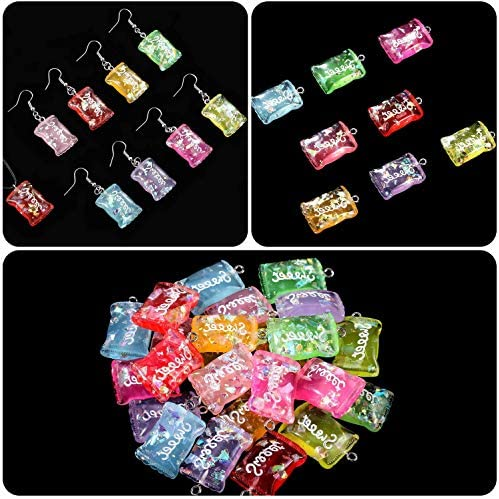 89 Pieces Colorful Candy Pendant Charm, Colorful Bear Resin Charms Pendants Resin Keychains for Jewelry Making Decoration, Necklace Earrings Bracelet Craft Findings Bulk Lots Wholesale