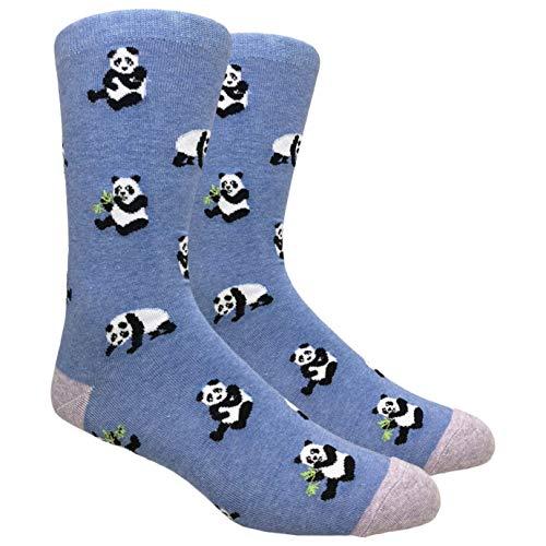 Urban Peacock Men's Novelty Fun Dress Socks (Multiple Patterns to Select From) (Panda Bears - Heather Blue) ()